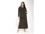 Haki Asimetrik Önü Taş Detaylı Şifon Elbise