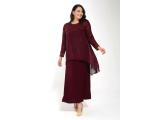 Bordo Dantelli Robalı Taşlı Şifon Elbise