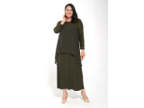 Haki Çiftrenk Dantelli Robalı Taşlı Şifon Elbise