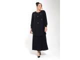 Siyah Önü Damla Taşlı Şifon Elbise