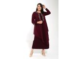 Bordo Büyük Beden Önü Serpme Yapıştırma Taşlı Şifon Elbise