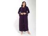 Mürdüm Dantel Salaş Inci Detaylı Içi Sandy Şifonlu Elbise