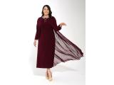 Bordo Büyük Beden Önü Pileli Yakası Kolyeli Şifon İçi Sandy Elbise