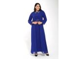 Saks Büyük Beden Degaje Yaka Beli Ve Yakası Taşlı Şifon Sandy Elbise